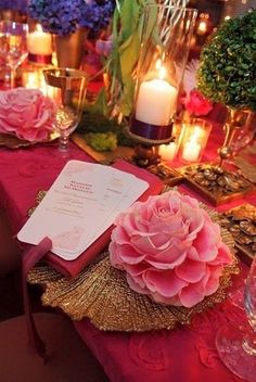 Pink flower and candles