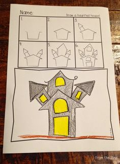 Free Haunted House Directed Drawing - Back To School Art Plastique Halloween, Bricolage Halloween, Manualidades Halloween, Theme Halloween, Halloween Activities, Art Activities, Halloween Crafts, Fall Halloween, Fall Art Projects