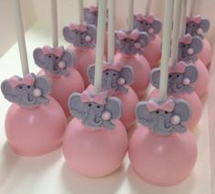 Pink elephant baby shower cake pops