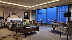 Stay a couple of nights at the Tangla Hotel and enjoy this breathtaking view overlooking Tianjin, China. Beautiful Bedrooms, Beautiful Homes, I Coming Home, Luxury Homes, Sweet Home, Room Decor, Table, Furniture, Design