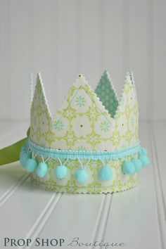 Blue and Green Shabby Chic Dress up Crown, Gender neutral, photo prop via Etsy