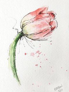 Tulip+flower+pink+original+art+watercolor+painting+pen+and+ink+watercolor+flower+pink+tulip+hand+painted