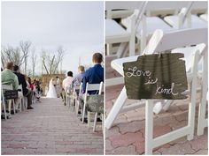 beautiful DIY aisle decor idea - old wooden shingles with passage from 1 Corinthians written on them in chalk - 'love is kind' etc. | Larissa Nicole Photography