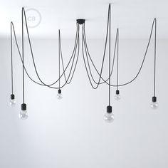 Textilkabel Le spider i svart keramik lupphäng för 6 7 pendlar rm04 svart