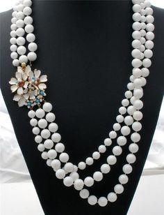 White Enamel Flower Rhinestone Estate Multi 3 Strand Bead Necklace Vintage | eBay