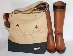Tote bag Canvas diaper bag large  lady bag mountain bag by BYildi