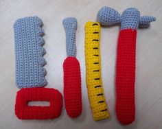 crochet toys for boys Crochet tool set - Crochet Tools, Crochet Crafts, Easy Crochet, Crochet Projects, Crochet Toddler, Crochet For Boys, Crochet Bear, Crochet Dragon, Yarn Stash