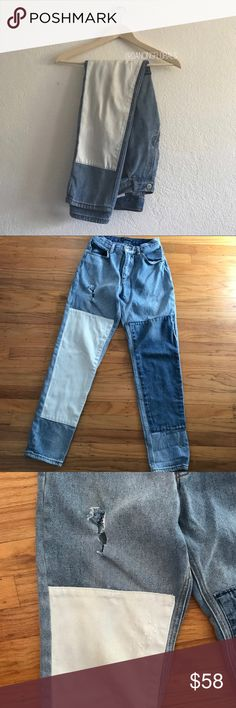 Brandy Melville Kenzo white patch jeans FLAWED | rips on the front and back but it just makes the jeans look more distressed | otherwise in good condition! Brandy Melville Jeans