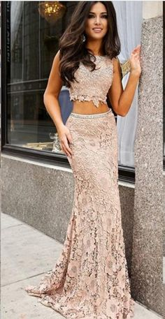 BLUSH PINK LACE 2 PIECE MERMAID LONG BACKLESS PROM DRESS EVENING