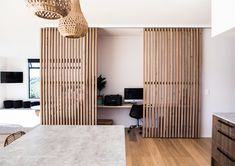Study nook with wooden slats as divider. Robertson by Adam Taylor Architecture : Study nook with wooden slats as divider. Robertson by Adam Taylor Architecture Home Office Closet, Office Nook, Home Office Space, Home Office Design, Home Office Decor, Home Interior Design, Interior Architecture, House Design, Home Decor