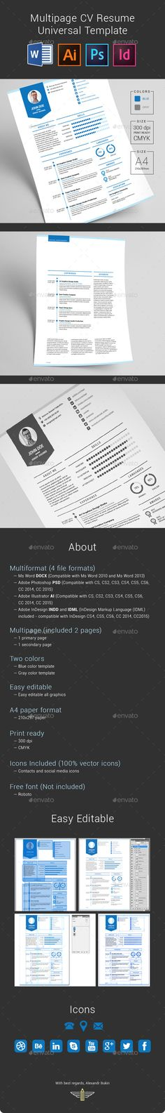 Multipage CV Resume Universal Template - Resumes Stationery