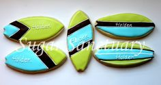 surf board sugar cookies. Cookie Favors, Fun Cookies, Sugar Cookie Frosting, Sugar Cookies, Luau Party, Beach Party, Surfboard Cake, Cookie Decorating, Decorating Ideas