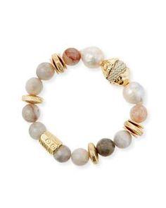 Ladies Cream Pearl Crystal Elasticated Adjustable Bracelet Bangle Women Jewelry
