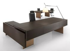 Contemporary executive wooden office desk THE ELEMENT Uffix Concept by Uffix Law Office Design, Office Table Design, Ceo Office, Modern Office Design, Office Furniture Design, Office Interior Design, Office Interiors, Office Desks, Modern Office Table