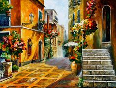 "The Sun Of Sicily — PALETTE KNIFE Landscape Urban City Street Art Oil Painting On Canvas By Leonid Afremov - Size: 40"" x 30"" (100cm x 75cm)                                                                                                                                                     Mais"