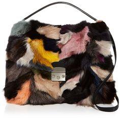 Aqua Fox Fur Satchel - 100% Exclusive ($515) ❤ liked on Polyvore featuring bags, handbags, fox fur handbag, satchel style purse, colorful purses, satchel purses and multi colored purses