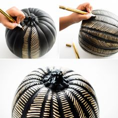Use gold leafing pens to deck out a black craft pumpkin.