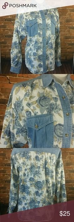 "Denim Rose jean Shirt Floral rise denim button down shirt.  100 % Cotton  Please read measurements, tag reads MEDIUM runs big.  23.5 "" across chest lying flat, 27 "" long HG NY Tops Button Down Shirts"