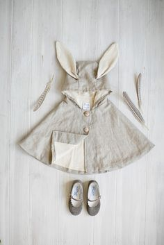 Tortoise and the Hare Clothing for babies, toddlers, and kids. Linen Rabbit Cape