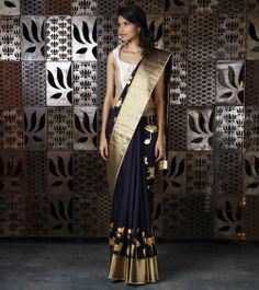 Navy Blue Chanderi Silk Saree with Gold Foil Print, by Rohit Bal