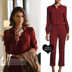 Nathalie Kelley as Cristal Flores in red burgundy blouse and pants worn on Dynasty season 1 2017