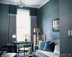 Chic living Room in deep rich colors turquoise, blue, grey. Love the mix of styles & textures! Featured in Elle Decor Striped Curtains, Modern Curtains, White Curtains, Retro Curtains, Striped Linen, Drapes Curtains, Elle Decor, Chic Living Room, Living Spaces