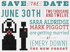 """Just a little Save the Date design I did for a couple of friends who are getting married next year… these will be printed out on some old 3.5"""" floppy disks. Can't wait to see the finished article!"""