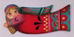 Christmas Angel Ornaments, Christmas Crafts, Wood Angel, Ceramic Angels, Painted Ornaments, Arte Popular, Doll Costume, Mexican Folk Art, Vintage Santas