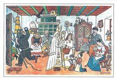 Postcard received through Postcrossing. Saint Nicholas by Josef Lada Christmas History, Christmas Cards, Merry Christmas, Ded Moroz, Saint Nicholas, Christmas Pictures, Christmas Traditions, Czech Republic, Illustrators