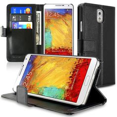 Insten Stand Folio Flip Leather Wallet Flap Pouch Case Cover Compatible With Samsung Galaxy Note 3, Black