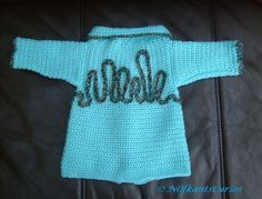 Water Baby! Hand Crocheted and decorated Newborn Baby Jacket.  £12.00