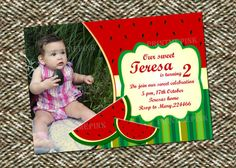 Watermelon Birthday Party Invitation and Thank you by PrintMePinkk, $13.00