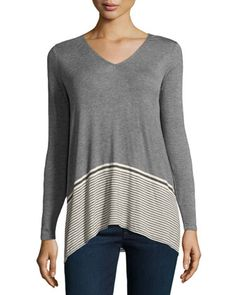 V-Neck+Striped+Jersey+Contrast+Top,+Heather+Steel/Bone+by+Max+Studio+at+Neiman+Marcus+Last+Call.