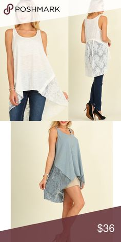 COURTNEY sleeveless hi Lo lace tunic - WHITE Perfect for this warm weather. Sleeveless hi Lo tunic top with lace detail. NO TRADE, PRICE FIRM Bellanblue Tops Tunics