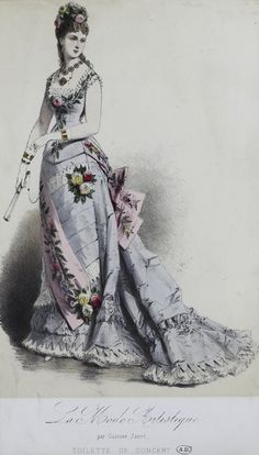 La Mode Artistique 1876 1870s Fashion, Victorian Fashion, Vintage Fashion, Fashion Forms, Fashion Art, Fashion Design, Fashion Prints, 19th Century Fashion, Fashion Painting