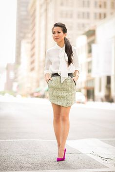 Marissa Webb Tweed With Leather asymmetrical Hem Mini Skirt