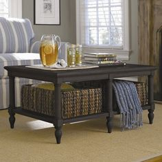 Coffee Table with Storage Baskets.