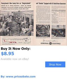Luxury Cars: 1952 Ge Ad: Pennsylvania Railroad Congressional And Senator New Luxury Cars BUY IT NOW ONLY: $8.95 #priceabateLuxuryCars OR #priceabate