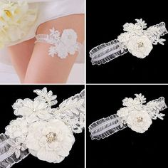 Bridal flower garter Wedding Crystals Bead Leg Ornament