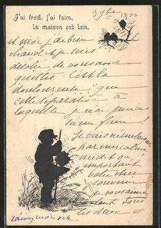 Alte Ansichtskarte: AK Junge mit Wanderstock bei Regen, Silhouette. 4,00 €