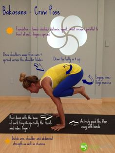 bakasana crow yoga pose and yoga videos online by MyYogaWorks http://myyogaworksblog.c...