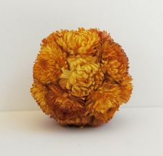 Eco-Friendly orange dried flower wedding pomander by Eco-Lectic Events