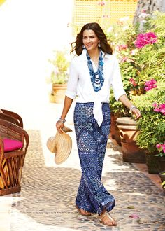 Scarf Print Palazzo Pant #chicos, if only there were short enough for me