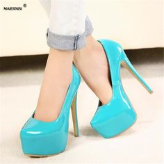 MAIERNISI 2017 Plus:35-44 zapatos mujer 15cm thin high heels Patent leather platform wedding shoes woman sexy Crossdresser pumps