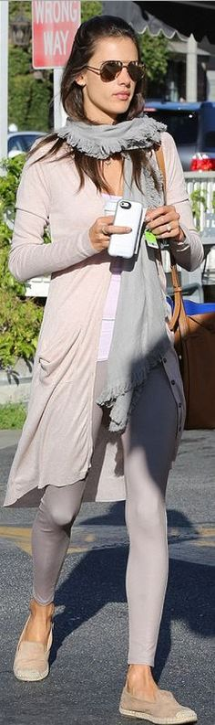 Who made  Alessandra Ambrosio's gray fringe scarf, cardigan sweater, brown leather handbag, and tan flat shoes?
