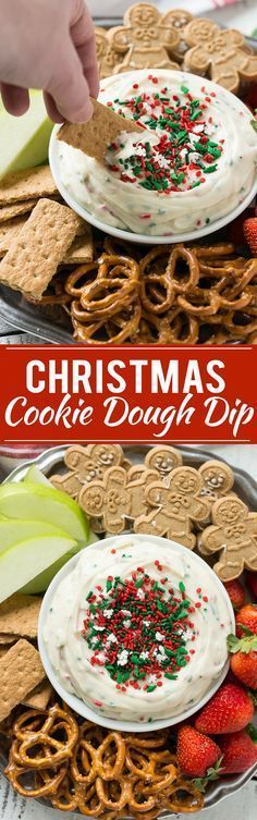 This Christmas cookie dough dip has a fluffy and creamy base that's swirled with plenty of holiday sprinkles and served with fruit and cookies for dipping. It only takes 5 minutes to make! Ad christmas food and drinks Christmas Party Food, Christmas Appetizers, Christmas Sweets, Christmas Cooking, Holiday Baking, Christmas Desserts, Holiday Treats, Holiday Recipes, Christmas Recipes