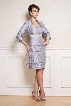 Sheath/Column Strapless Knee-length Chiffon Mother Of The Bride Dress - IZIDRESSES.com at IZIDRESSES.com
