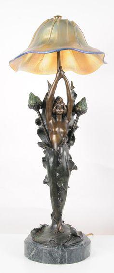 ~` art nouveau lamp bronze . canonburyantiques.com `~