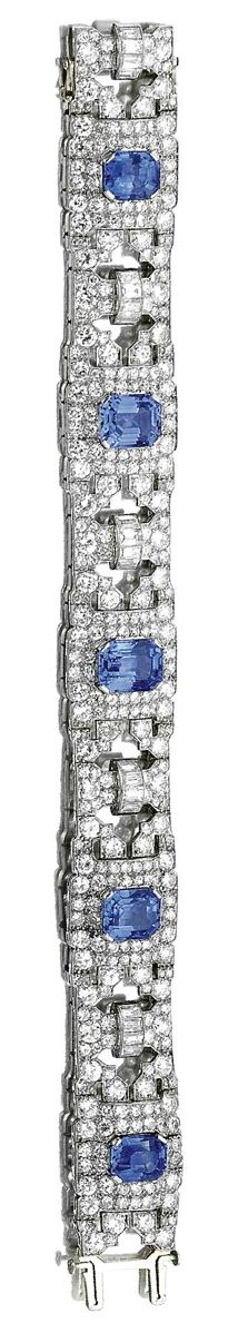SAPPHIRE AND DIAMOND BRACELET, 1930S.  The five step-cut sapphires within geometric borders of circular- and single-cut diamonds, to baguette diamond spacers, mounted in platinum, length approximately 190mm, signed Altenloh Bruxelles.