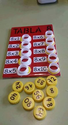 Interactive multiplication math Could change to be more difficult, addition, division, or subtraction. This is a fun way to help with multiplication. This is a and concrete lesson. Math Games, Preschool Activities, Division Activities, Student Games, Counting Activities, Math For Kids, Crafts For Kids, Math Multiplication, Math Math